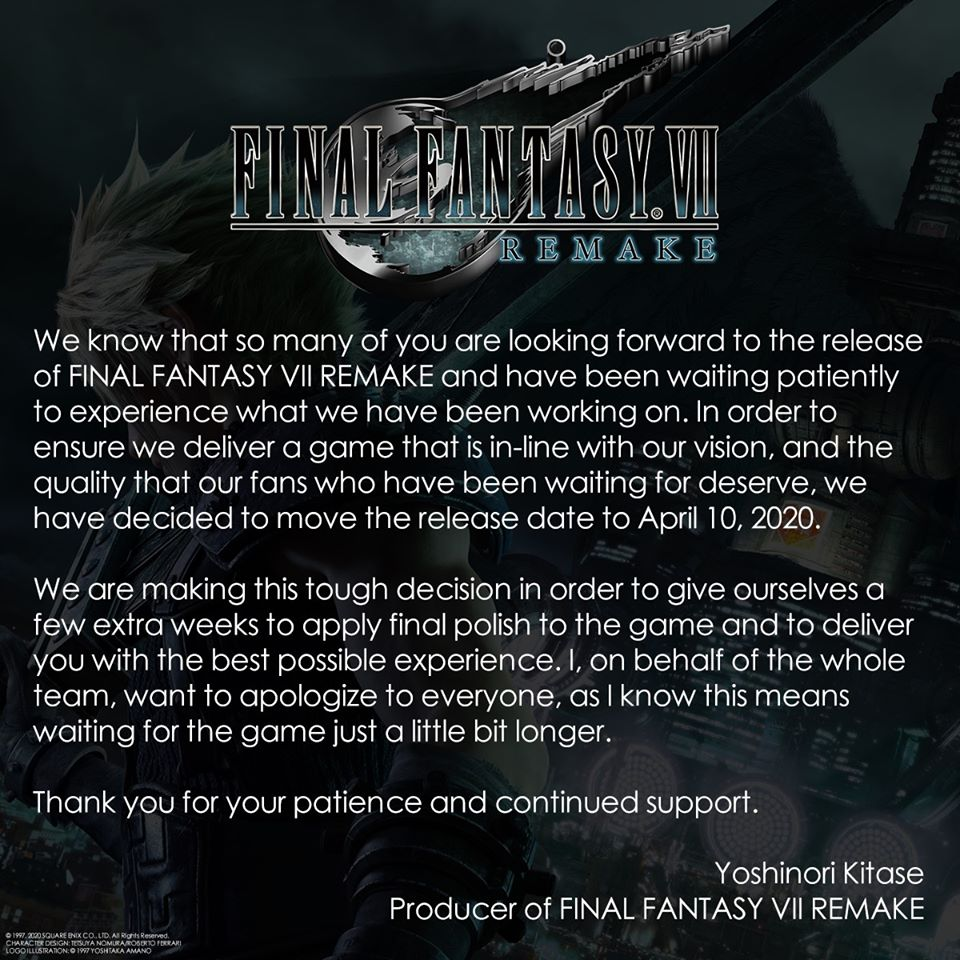 SQUARE ENIX Umumkan Pengunduran Terbit Final Fantasy 7 Remake - Mobile Game Indonesia